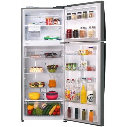 LG 471 L 2 Star Inverter Linear Frost-Free Double-Door Refrigerator (GL-T502FPZU, Shiny Steel, Convertible)