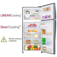 LG 516 L 3 Star Frost Free Double Door Refrigerator  (GN-H602HLHQ, Dazzle Steel, 2020 model)
